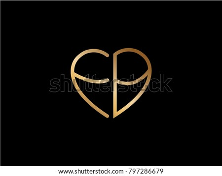 Fb Initial Logo Letter Heart Shape Stock Vector Royalty Free