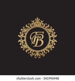 FB initial luxury ornament monogram logo