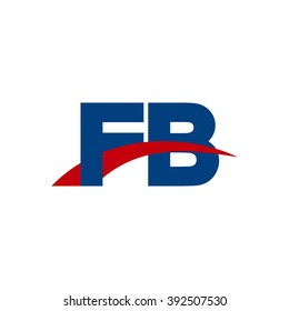 FB initial overlapping swoosh letter logo blue red