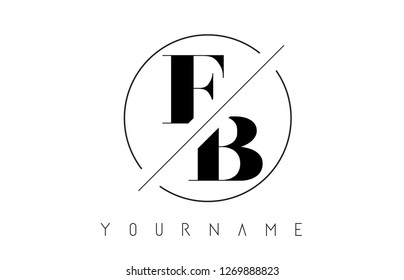 FB Letter Logo with Cutted and Intersected Design and Round Frame Vector Illustration