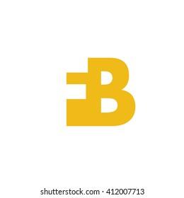 FB Logo. Vector Graphic Branding Letter Element. White Background