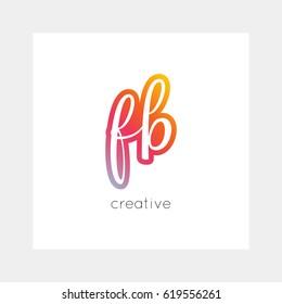 FB logo, vector. Useful as branding, app icon, alphabet combination, clip-art.