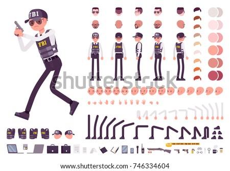 FBI Agent Character Creation Set Federal Stock Vector (Royalty Free ... edb69506a687