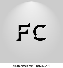 FC Abstract Black Letters with white and gray background in highlight