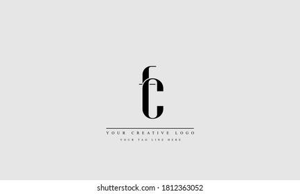 fc cf abstract vector logo monogram template