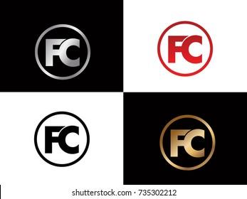FC Circle Letter Logo Design with RED GOLD BLACK Silver Vector Illustration