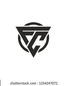 FC Letter base Triangle Circle Logo Design