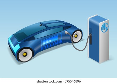 FCV(fuel cell vehicle) and hydrogen filling station, future automobile, concept car, vector illustration