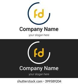 FD business logo icon design template elements. Vector color sign.