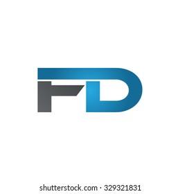 FD company linked letter logo blue