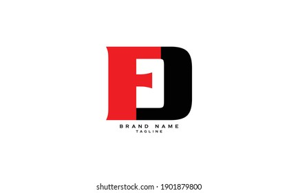 FD, DF, D AND F, Abstract initial monogram letter alphabet logo design