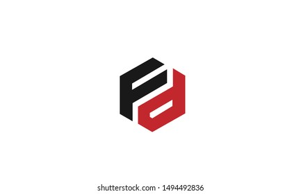 FD or DF and F or D abstract letter mark monogram vector logo template