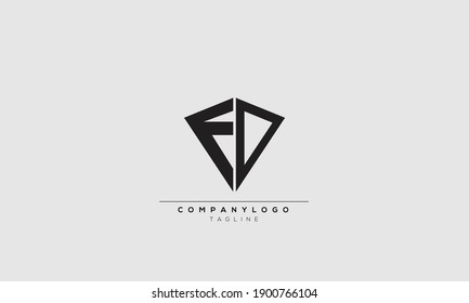 FD F AND D Abstract initial monogram letter alphabet logo design