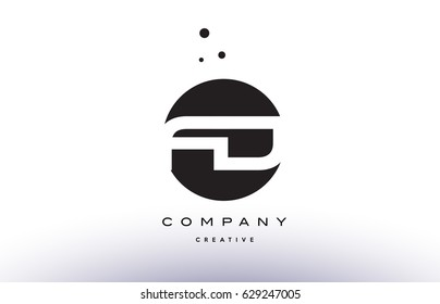 FD F D alphabet company letter logo design vector icon template simple black white circle dot dots creative abstract