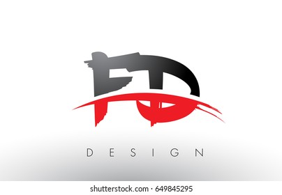 FD F D Brush Logo Letters Design with Red and Black Colors and Brush Letter Concept.