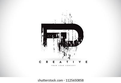 FD F D Grunge Brush Letter Logo Design in Black Colors. Creative Brush Letters Vector Illustration.