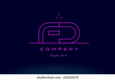 fd f d letter alphabet text pink purple dots contour line creative company logo vector icon design template