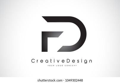 FD F D Letter Logo Design in Black Colors. Creative Modern Letters Vector Icon Logo Illustration.