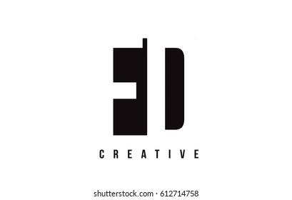 FD F D White Letter Logo Design with Black Square Vector Illustration Template.