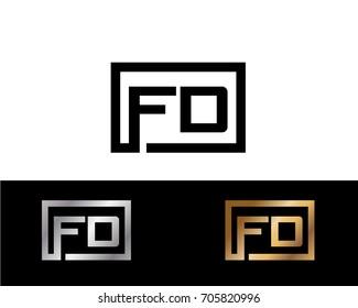 FD initial box shape Logo designs template
