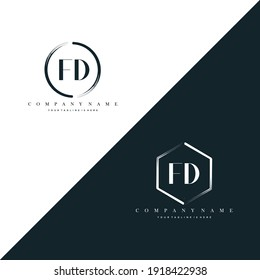 FD Initial Letter Circle Brush With Hexagon Brush Logo Template Vector