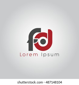 fd initial letter linked lowercase logo. f and d vector template design.