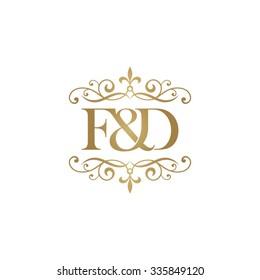 F&D Initial logo. Ornament ampersand monogram golden logo