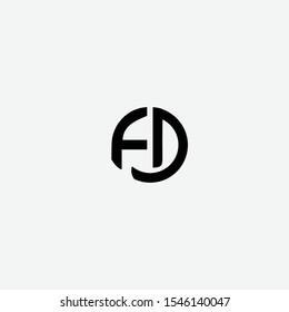 FD initials letter creative logo icon vector black color free download