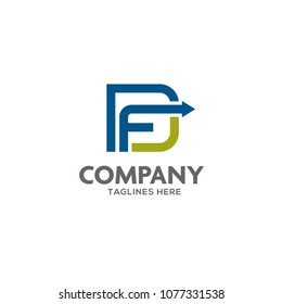 FD letter logo design vector illustration template