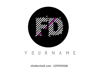 FD Letter Logo Design with White Lines and Black Circle Vector Illustration