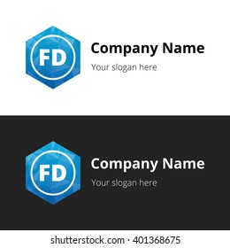 FD Letters , Abstract Polygonal Background Logo, design for Corporate Business Identity, Alphabet letter