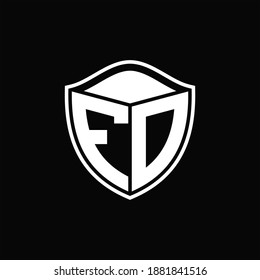 FD Logo monogram shield shape with outline rounded design template on black background