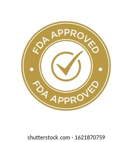 FDA Approved (Food and Drug Administration) icon, symbol, label, badge, logo, seal. Golden and white.