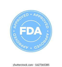 FDA Approved (Food and Drug Administration) icon, symbol, label, badge, logo, seal. Blue and white.