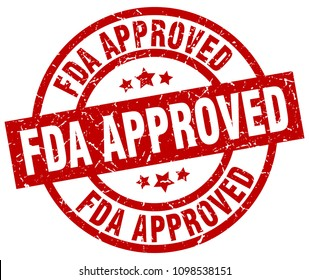 fda approved round red grunge stamp