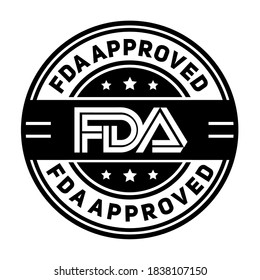 FDA approved. Stamp with text Fda approved. Fda (Food and Drug Administration) approved label, badge, logo, seal