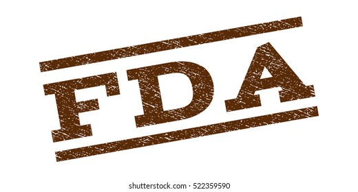 FDA watermark stamp. Text caption between parallel lines with grunge design style. Rubber seal stamp with unclean texture. Vector brown color ink imprint on a white background.
