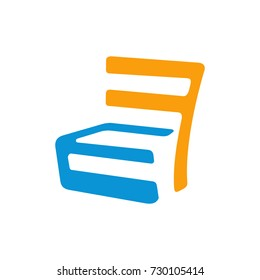 FE or EF initial letter logo design template vector forming a chair