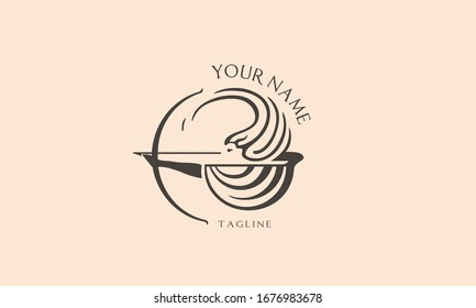 Feamle greek archer logotype. The woman shoots a bow. Vector illustration. Antient wrapped shape logo.