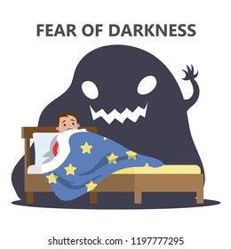Fear of darkness concept. Little child scared of monster from nightmare. Lying in bed without sleep and being afraid of ghost. Isolated flat vector illustration