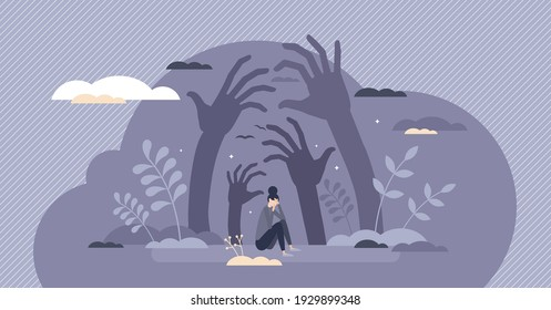 Fear emotions and panic attach with negative thoughts tiny person concept. Female afraid and frightened from anxiety and depression pressure vector illustration. Imaginary evil and suspicious feeling.