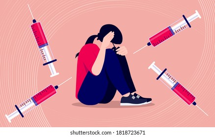 Fear of needles and syringe - Trypanophobia illustration of woman suffering panic attack and feeling dizzy. Mental health, vaccination and anxiety concept. Vector format.