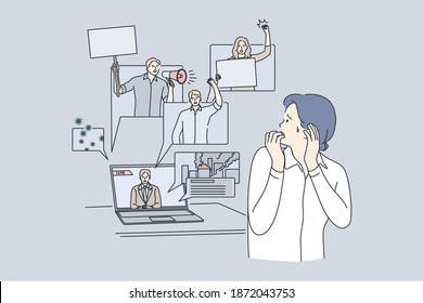 Fear, negative news in mass media impact in internet concept. Stressed woman cartoon character suffering from panic attack after watching online news happening to world vector illustration