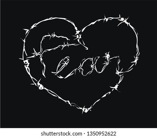 fear slogan barbed wire in heart shape illustration on black background