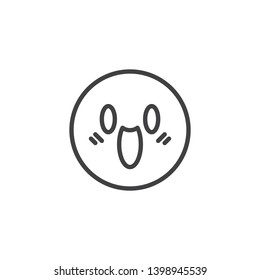 Fearful Face emoticon line icon. linear style sign for mobile concept and web design. Face Screaming in Fear emoji outline vector icon. Symbol, logo illustration. Vector graphics
