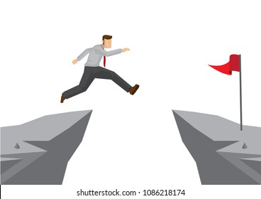 Fearless brave businessman jumping over a cliff to reach his target. Concept of overcoming challenges to achieve his goal. Vector cartoon illustration.