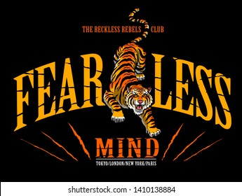 fearless mind tiger vector illustration tee print graphic design