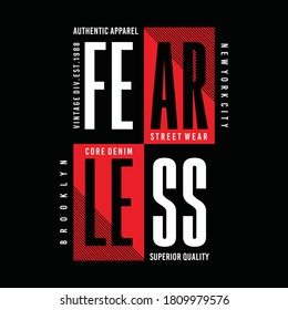 Fearless, new york city, brooklyn, typography graphic design, for t-shirt prints, vector illustration