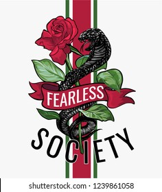 fearless slogan with black cobra illustration