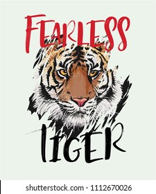 fearless tiger slogan with tiger through ripped clothe illustration